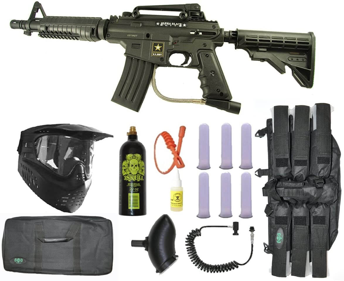 US Army Alpha Black Tactical Paintball Rifle - Player Package